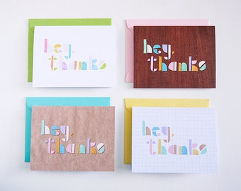 Hey, Thanks Notecards (set of 4)