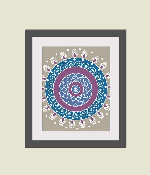 Items Similar To Rangoli Home Decor Folk Art Magenta Blue