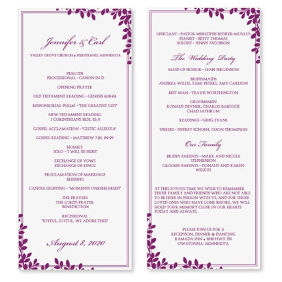 Wedding Program Template Download Instantly By KarmaKWeddings