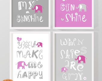 baby girl nursery decor elephant, nursery rhyme prints you are my sunshine, nursery song print, baby quotes, nursery wall sayings, girl room