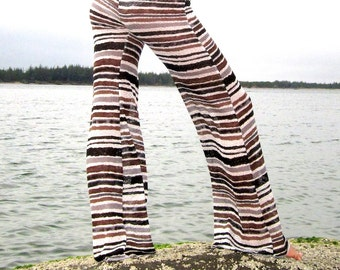 STRETCH knit stripe fashion boho bell bottom beach resort festival burning man gypsy hippie yoga lounge pants