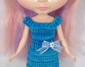 Hand-Knit Blue Fitted Dress for Blythe Doll