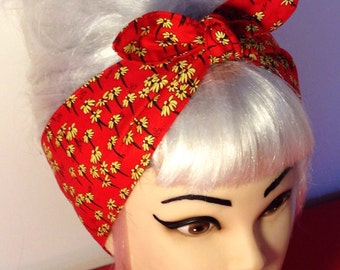Red Yellow  Headband Pinup Vintage Retro Style 50s Rockabilly Flowers