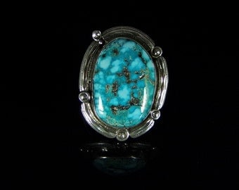 Men's Turquoise Ring; Sterling Silver, Handmade, Size 12.75, #R0215