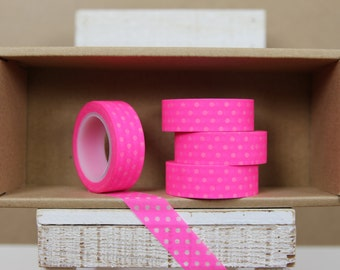 Washi Tape - neon pink/ shocking pink polka dots - N05
