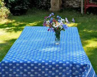 TABLECLOTH FINE COTTON Blue block printed rectangle