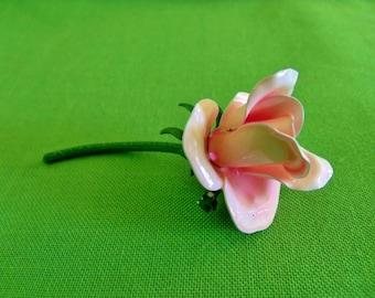 Vintage Enameled Rose Brooch (Item 931)