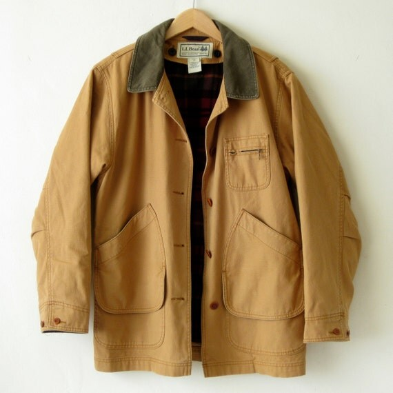 Vtg womens ll bean field jacket sz m barn coat chore l l bean tan