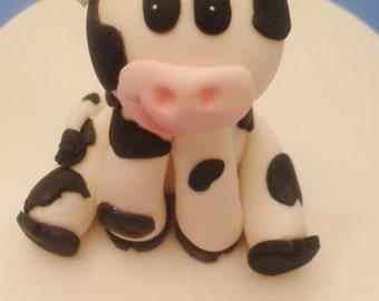 3D Fondant Cow Cake Topper