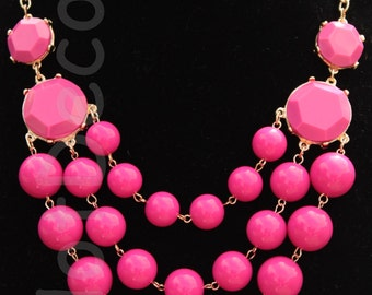 Statement necklaces Bubble Necklace Bib necklace Beaded Necklace Hot Pink Chunky necklace statement jewelry for women holiday jewelry