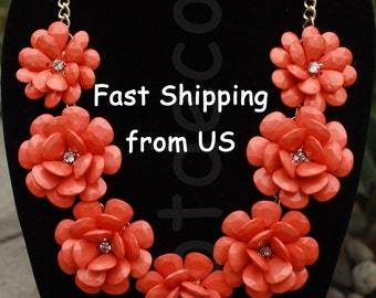 Statement necklace bubble necklace bib necklace Orange necklace Rose Flower necklace gift Orange Rosette jewelry for holiday Orange jewlery