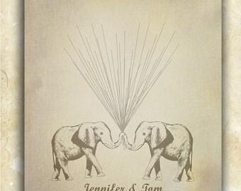 Vintage Look Wedding Guestbook Alternative Circus Elephants holding Thumbprint / Fingerprint Balloons