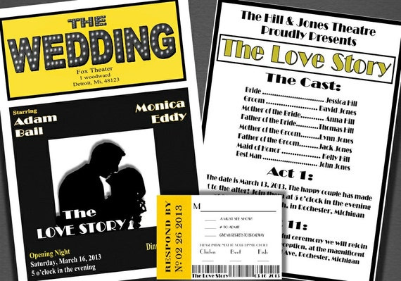 Broadway Theatre Style Wedding Invitation Theatre Escort