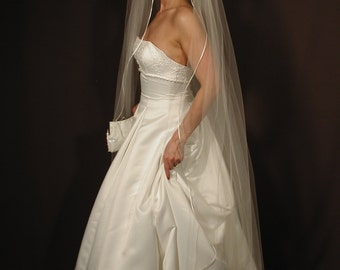 "Wedding veil Chapel length 75"" long with corded satin  ribbon/rattail ribbon edging. Bridal veil."