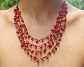 Red Coral Necklace and cotton cord
