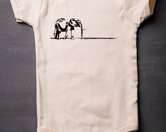 Elephant - Baby Bodysuit - Organic Cotton - Screen Printed - Baby Clothes