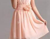 Peach pink chiffon V-neck prom/party/bridemaid dress with sash flower