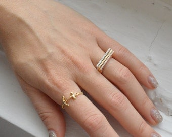 Layered Gold Ring - Rose Gold Ring - Sterling Silver Ring - Sterling Silver Stacked Ring - Micro Pave Ring