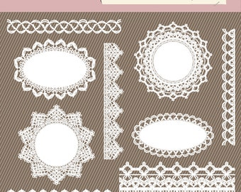 Lace Dolly Clipart.  Digital Lace Clipart. Digital Dolly. Lace Border Clipart. 359