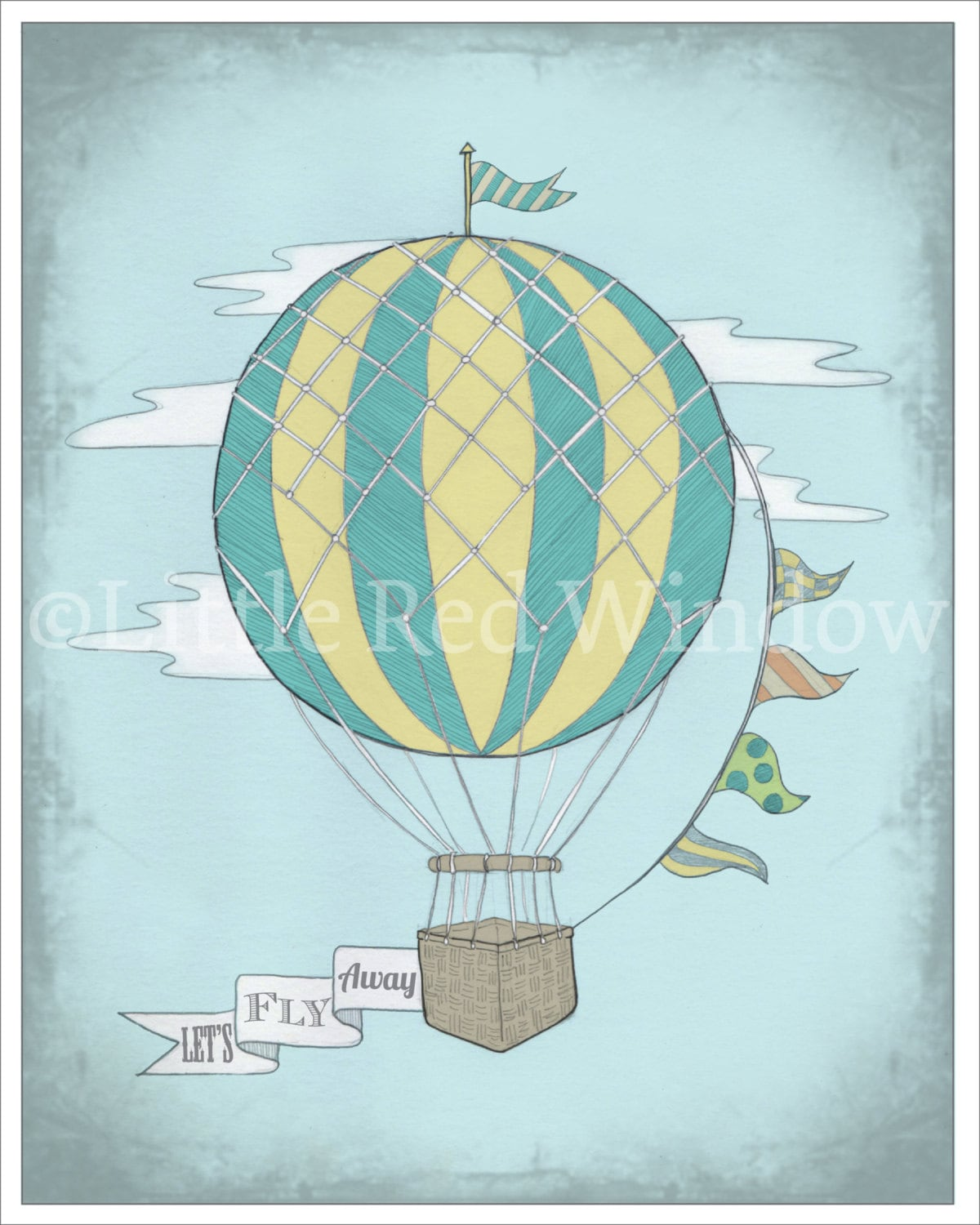 Vintage Hot Air Balloon Printable Print8 x by LittleRedWindow