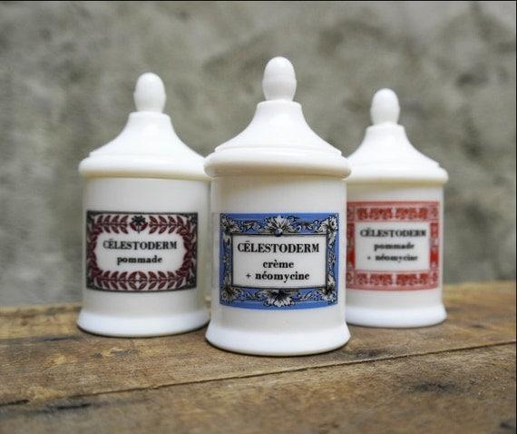 pots d 39 apothicaire fran ais vintage pots de verre de lait. Black Bedroom Furniture Sets. Home Design Ideas