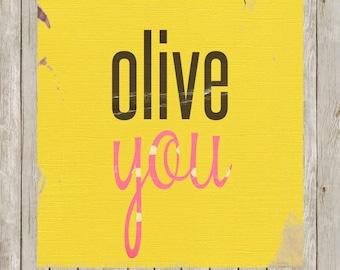 12x12 Olive You Print, Vintage Art Printable, Nursery Wall Art, Nursery Print Poster, Home Decor, Nursery Art, Instant Digital Download