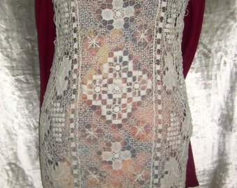 Lace on printed jersey dress style JOANA VASCONCELOS