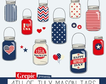 """SALE 50% 4th of July clipart: """"4th of July Mason Jars"""" happy independence day clip art with usa stars and stripes mason jars for c"""