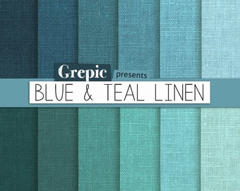 "Blue linen digital paper: ""BLUE & TEAL LINEN"" with blue / green / teal / turquoise linen backgrounds / textures / for scrapbooking, cards"