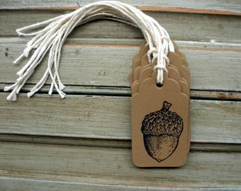 Acorn Favor Tags, Kraft Acorn Tags, Fall Favor Tags, Autumn Favor Tags, Thank You Tags, Brown Kraft Paper Tags, Hand Stamped Tags, Set of 10