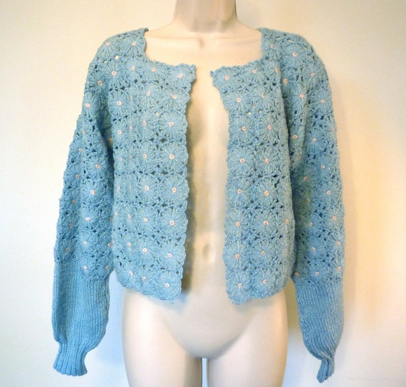 Free Crochet Pattern Cropped Sweater : Vintage Crochet Cropped Knit Sweater Blue by ...
