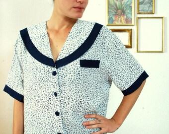 Vintage 60's Elegant Navy Shirt