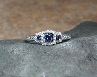 25% OFF Vintage Style Blue Sapphire Diamond Ring, Sterling Engagement, Anniversary, Ready to Ship Size 7