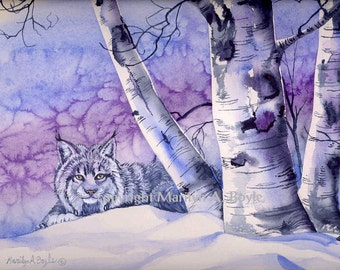 ORIGINAL MIXED MEDIUM: Young Canada Lynx,free shipping for Christmas,winter,birch trees, Canadian art, wilderness, nature,