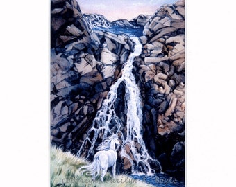 FANTASY PRINT of a Unicorn, Waterfall, double matted, 8 x 10 inch. art, reproduction, hidden valley, cliff,