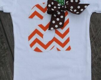 Thanksgiving Initial shirt, Chevron Initial Shirt, Orange Chevron Shirt, Fall Shirt, halloween shirt, baby bodysuit