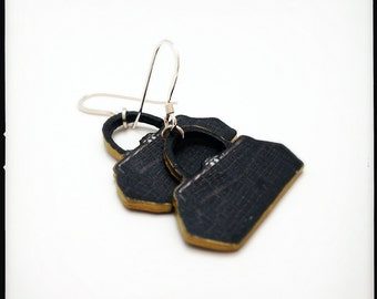 Vintage Black Purse Earrings - Vintage Black (Faux/Eco-Friendly) Alligator Purse Dangle Earrings - Upcycled Black Gold Silver Purse Earrings