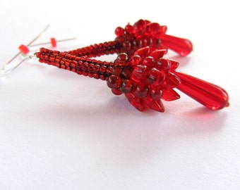 Edgy Modern Red Dragonfruit Scaled Earrings long and dramatic