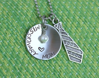 Missionary Mom Necklace - Hand Stamped - Elder - Mother's Day - Stainless - Pearl Charm - Tie - Proud Mom - Gift for a Missionary Mom - lds