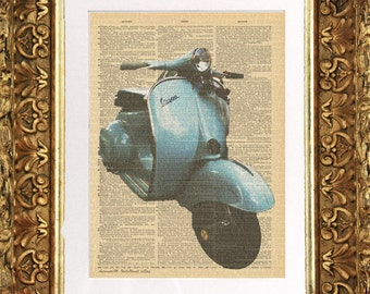 Italian Vespa on 100 yr old Antique Dictionary Page, scooter, bike, Wall Decor, Wall Decor, Book Art
