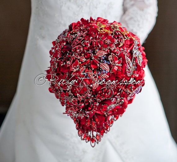 Cascading Crystal Red Wedding Brooch Bouquet