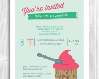 Cupcake Printable Invitation - cupcake wars, baking party