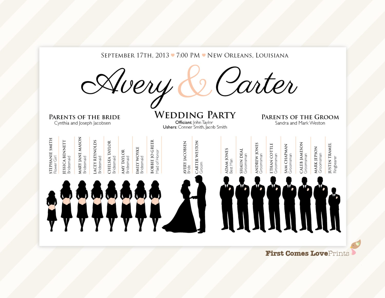 silhouette wedding program sign pdf design canvas. Black Bedroom Furniture Sets. Home Design Ideas