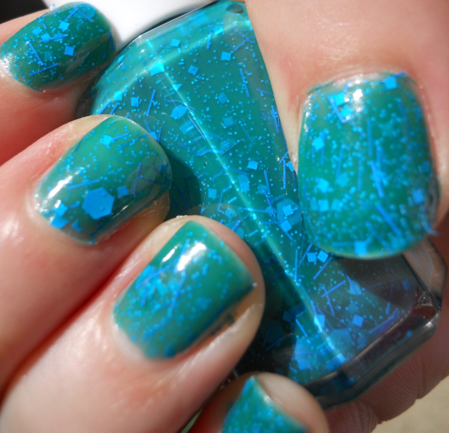 Green Jelly Nail Polish with Matte Blue by LimitlessLacquer