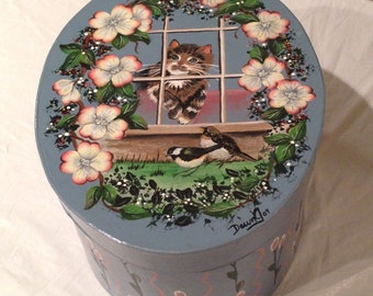 Large Oval Blessing Photo Storage Box Hand Painted by Dawn Joy-UNIQUE!!!!!