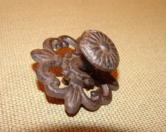 Flower Pull Knob, Vintage Bronze Finish, Antique, Cabinet Handle, Drawer Pull, Metal Cast Iron