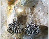 Beautiful Silver Hook Earrings with Tree of Life