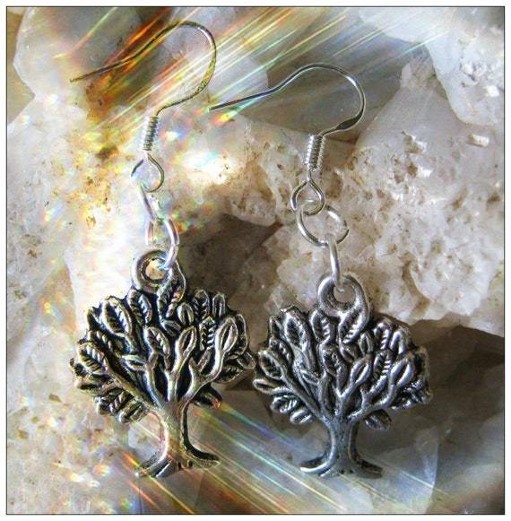Beautiful Handmade Silver Hook Earrings with Tree of Life by IreneDesign2011