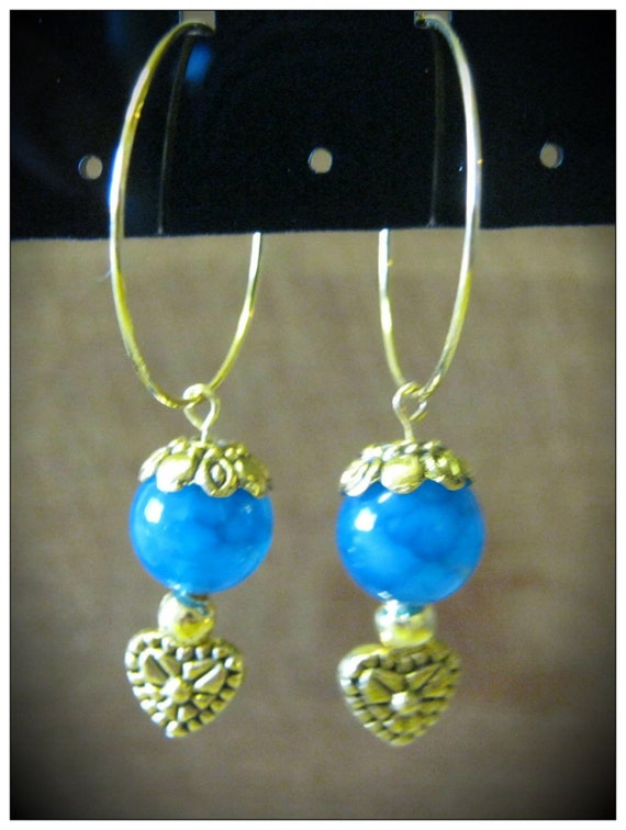 Handmade Gold Hoop Earrings with Blue Vein Agate & Heart by IreneDesign2011