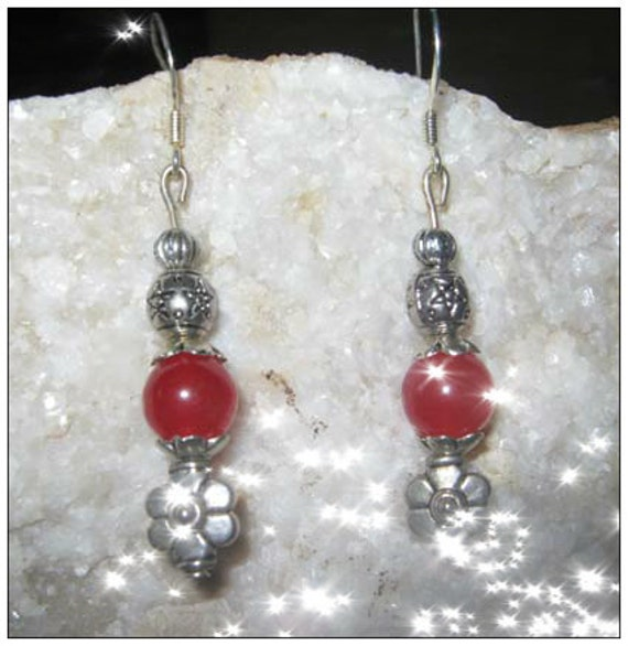 Handmade Silver Earrings with Red Jade & Flower by IreneDesign2011